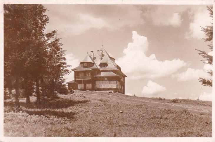Staré Hamry, Bílá - Masarykova chata KČT na Beskydě 1938 - Pohlednice