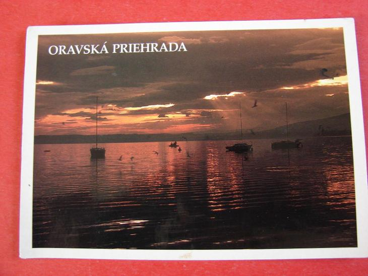 ORAVSKÁ Přehrada Západ slunce Lodičky Slovensko - Pohlednice