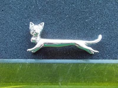Těžítko kočka figurka kov nerez na ubrousky stolování