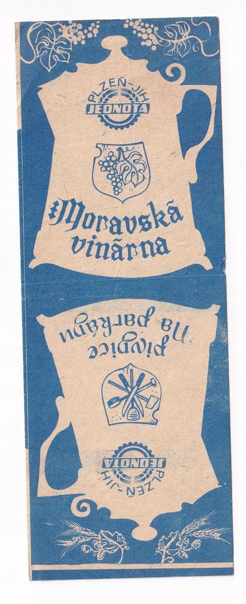 Účtenka Jednota, Moravská vinárna, Plzeň - Antikvariát
