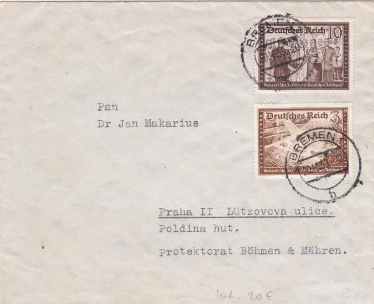 Německo, Bremen 20.10.1939 - Praha. - Filatelie