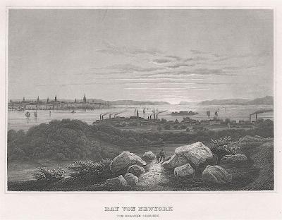 New York Bay, Meyer, oceloryt, 1850