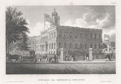 New York City Hall, Meyer, oceloryt, 1850