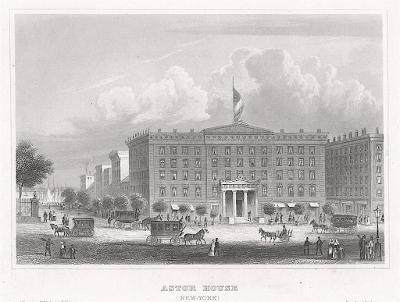 New York Astor House, Meyer, oceloryt, 1850
