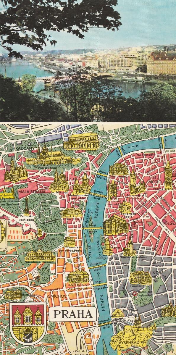 Praha - mapa - 21 x 10,5 cm - Pohlednice