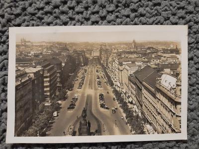 Stará pohlednice, Praha Václavské náměstí, živé foto,prošlá