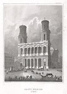 Paris St. Sulpice, Meyer, oceloryt, 1850