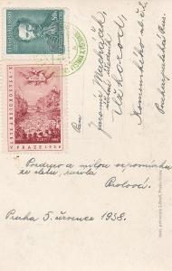 Praha, nálepka sokol. slet a příl. razítko 1938-Zakarpatská Ukrajina,