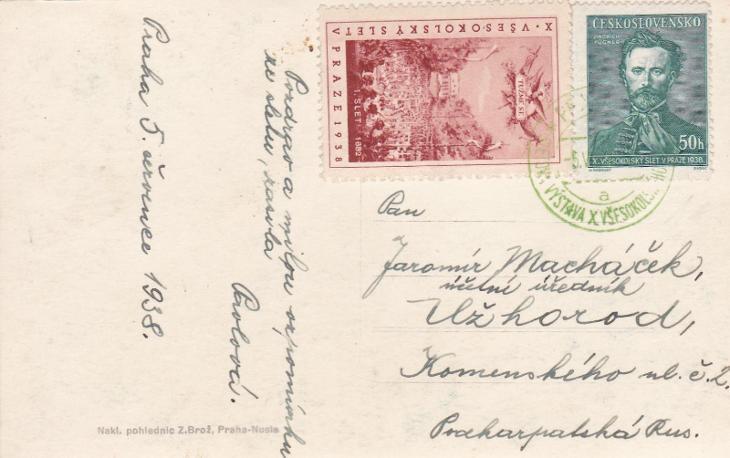 Praha, nálepka sokol. slet a příl. razítko 1938-Zakarpatská Ukrajina,  - Filatelie