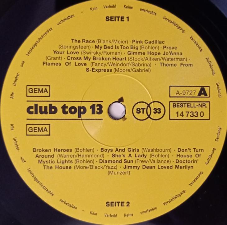Top Hits7/8 988(Fancy,Blue System.C.Norman,Yello)-CLUBTOP131988 - EX+ - Hudba