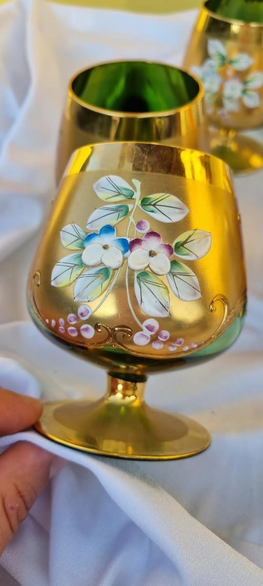 Sada 6ks sklenic Novy Bor - Starožitnosti