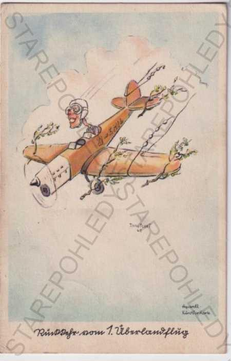 Letadlo, letec, humorná kresba, barevná, akvarel,  - Pohlednice