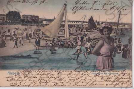 Ahlbeck (Německo) litografie, kolorovaná, přístav, - Pohlednice