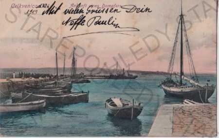 Crikvenica (Chorvatsko, Jugoslávie) přístav, lodě, - Pohlednice