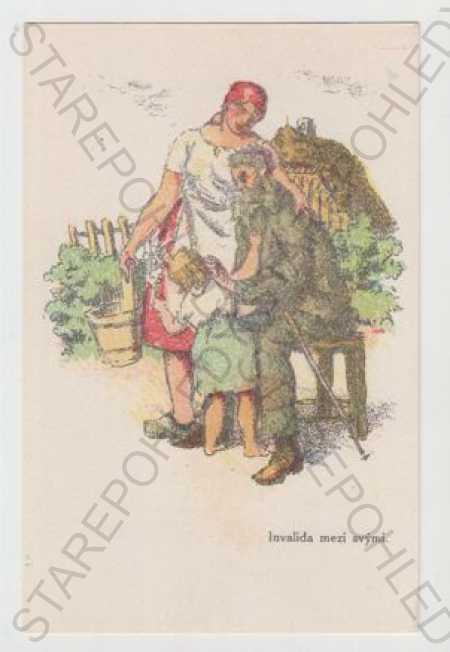"""Velikonoce, žena, muž, \""""Invalida mezi - Pohlednice"""