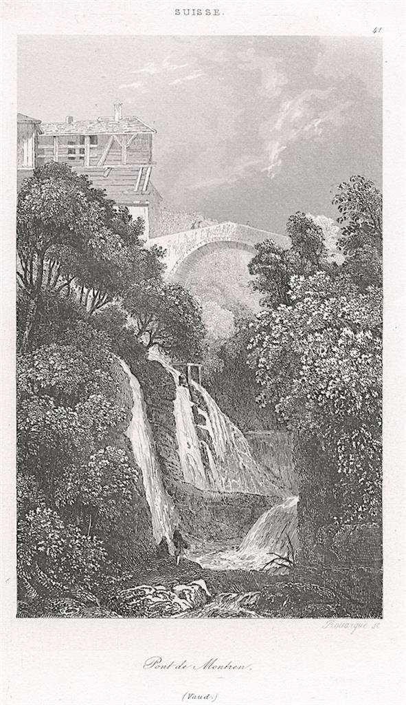 PONT DE MONTREN, VAUD, Le Bas, oceloryt 1842 - Antikvariát