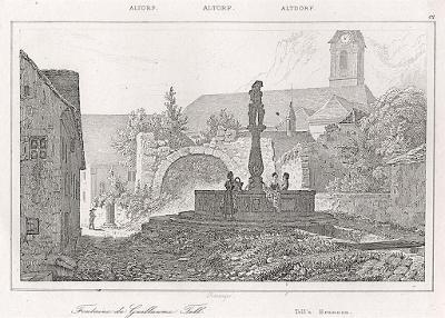 Altdorf Tell Brunnen Le Bas, oceloryt 1842
