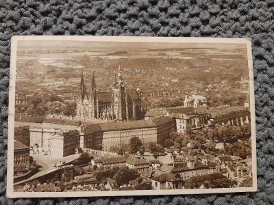 Stará pohlednice,Praha-Hradčany Pohled shora,prošlá