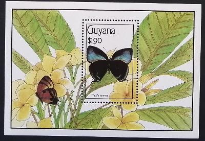 Guyana 1990 Bl.103 15€ Motýli Jižní Ameriky, Thecla hemon
