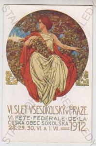 Sokol, slet, žena, Praha, kolorovaná