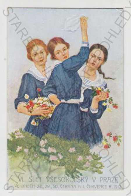 Sokol, slet, dítě, žena, Praha, květina, kolorovan - Pohlednice