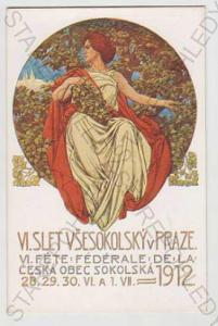Sokol, žena, slet, Praha, kolorovaná