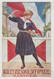 Sokol, žena, vlajka, tanec, slet, Praha, kolorovan