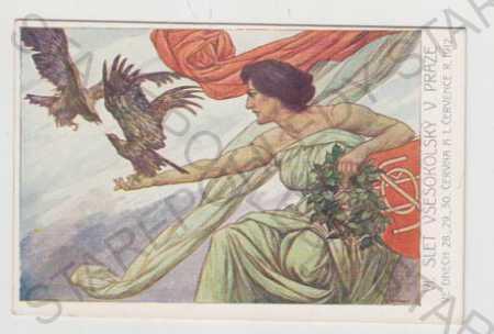 Sokol, žena, pták, slet, Praha, erb, kolorovaná - Pohlednice