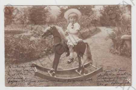 Děti - foto, hračka, houpací kůň, DA - Pohlednice