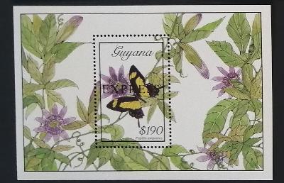 Guyana 1989 Bl.54 13€ Motýli Jižní Ameriky, Papilio torquatus, EXPRESS