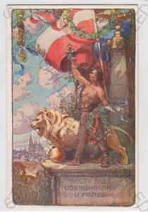 Sokol, slet, vlajka, lev, Praha, kolorovaná