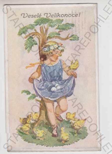 Marie Fischerová - Kvěchová, Velikonoce, dítě, kuř - Pohlednice