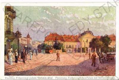 Bratislava pohled ulicí tramvaj