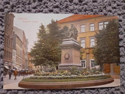 Stará pohlednice, Praha - Jungmanův pomník,prošlá