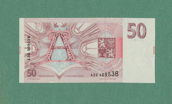 💎 50 korun, 1993   -  první serie A   -   stav UNC - aUNC+ - Bankovky