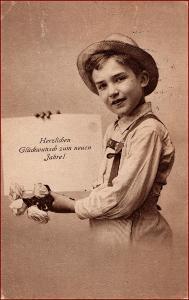 Nový rok * děti, chlapec, klobouk, květiny, gratulační * X590