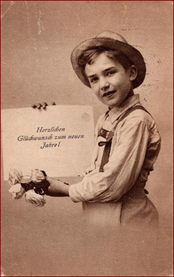 Nový rok * děti, chlapec, klobouk, květiny, gratulační * X590 - Pohlednice