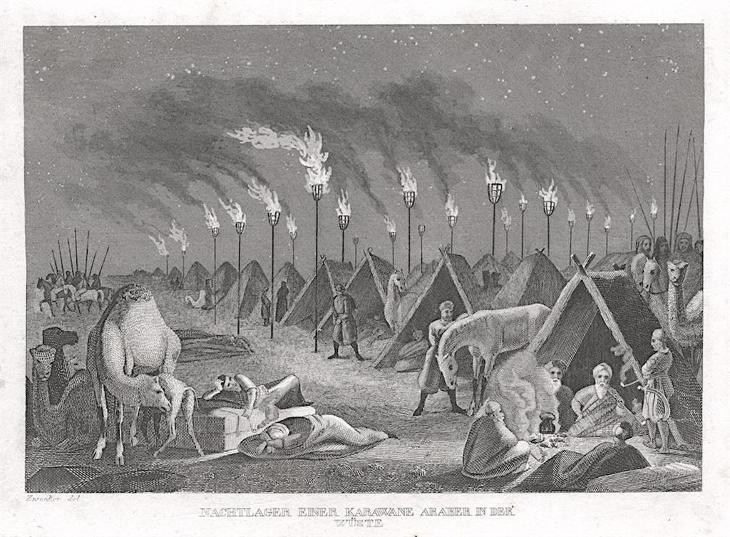 Noční tábor karavany, Strahlheim, oceloryt, 1837 - Antikvariát