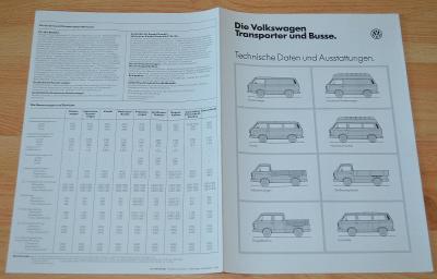 VOLKSWAGEN TRANSPORTER / BUS - DOBOVÝ ORIGINÁLNÍ PROSPEKT A4 (1984)