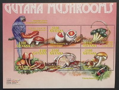 Guyana 2000 Mi.6921-6 10€ Houby a fauna Jižní Ameriky