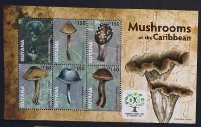 Guyana 2011 Mi.8222-7 9€ Houby Jižní Ameriky, flora Karibiku