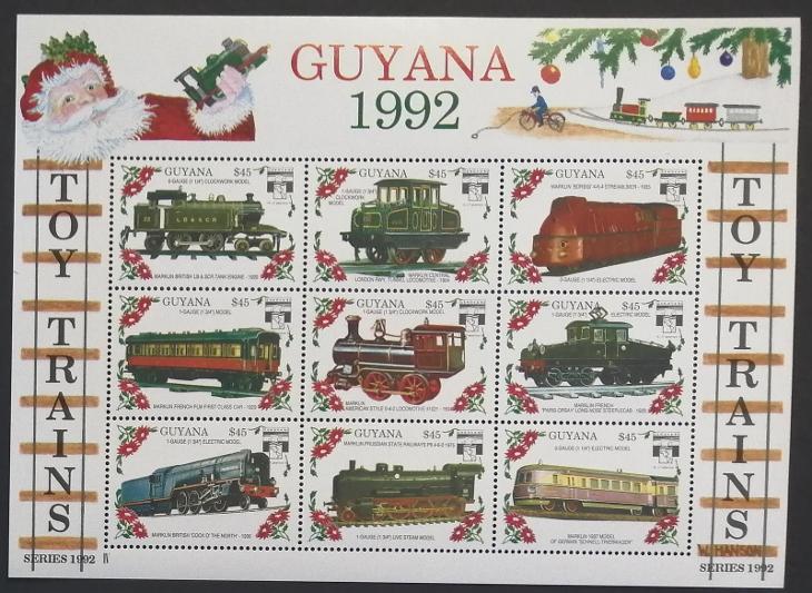 Guyana 1992 Mi.3925-3 8,2€ Dětské vláčky, modely lokomotiv IV. - Filatelie