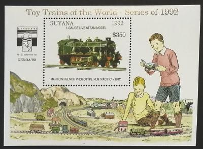Guyana 1992 Bl.217 9,5€ Dětské vláčky, modely lokomotiv