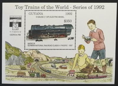 Guyana 1992 Bl.211 9,5€ Dětské vláčky, modely lokomotiv