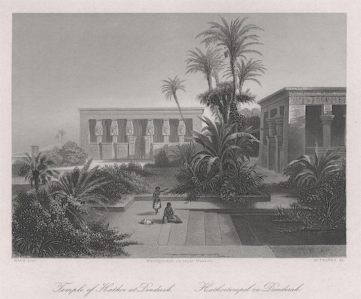 Denderah, Payne, oceloryt 1860 - Antikvariát