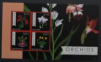 Guyana 2012 Mi.8302-5 10€ Orchideje Jižní Ameriky, flora