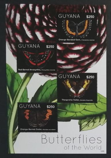 Guyana 2012 Mi.8276-9 10,5€ Motýli Jižní Ameriky, hmyz - Filatelie