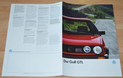 VOLKSWAGEN GOLF GTI - DOBOVÝ ORIGINÁLNÍ PROSPEKT A4 (1/1987)