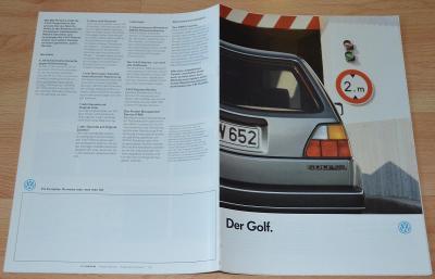 VOLKSWAGEN GOLF - DOBOVÝ ORIGINÁLNÍ PROSPEKT A4 (1/1987)