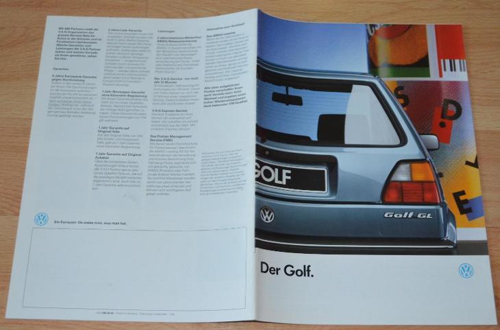 VOLKSWAGEN GOLF CL / GL - DOBOVÝ ORIGINÁLNÍ PROSPEKT A4 (1/1987) - Příslušenství k veteránům
